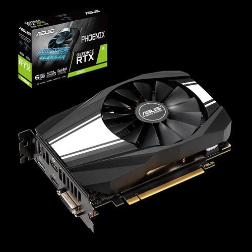 ASUS nVidia Phoenix GeForce RTX 2060 6GB GDDR6 Turing GPU, 2 Fans, 1xDP/2xHDMI/1xDVI-D, 1710 Boost NON-RGB (LS)