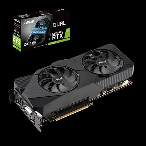 ASUS DUAL-RTX2070-O8G-EVO-V2 GeForce RTX2070 OC Edition 8GB GDDR6, 2 Fans, 1xDP/2xHDMI, 1740 MHz Boost, NON-RGB