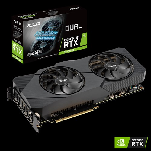 ASUS nVidia Super DUAL-RTX2070S-A8G-EVO GeForce® RTX 2070 SUPER EVO Advanced Edition 8GB GDDR6, Two Powerful Axial-Tech Fans, high Refresh Rate AAA G