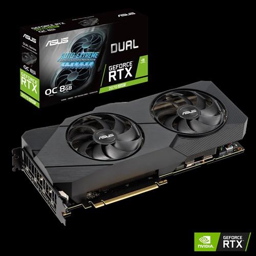 ASUS nVidia Super DUAL-RTX2070S-O8G EVO GeForce® RTX 2070 SUPER EVO OC Edition 8GB GDDR6, 2 Fans, 3xDP/1xHDMI, 1845 Boost, NON-RGB