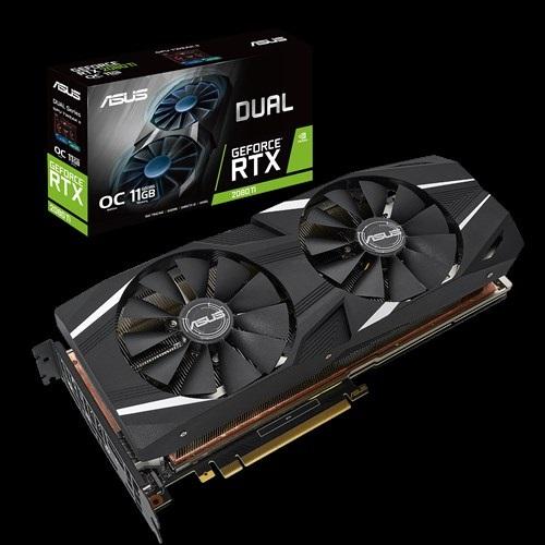 ASUS nVidia DUAL-RTX2080TI-O11G GeForce RTX2080TI OC Edition 11GB GDDR6 PCIe 3xDP 1xHDMI 1650 Boost
