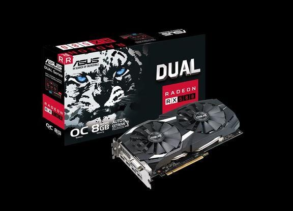 ASUS AMD Radeon DUAL-RX580-O8G DDR5 PCIe Video Card 8K 7680x4320 2xDP/2xHDMI/1xDVI-D 1380/1360 MHz