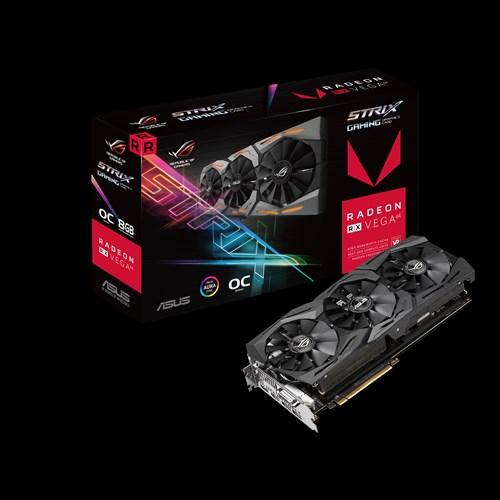 Asus AMD Radeon ROG-STRIX-RXVEGA64-O8G-GAMING DDR5 PCIe Vidro Card 7680x4320, 1xDVI, 2xHDMI, 2xDP