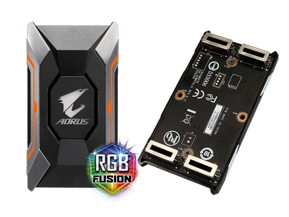 Gigabyte GC-A2WAYSLIL RGB Aorus SLI HB bridge RGB  4K+ 8cm 2 slot spacing for nVidia GTX 10 series graphic cards Dual Link SLI HB ~GC-A2WAYSLI RGB