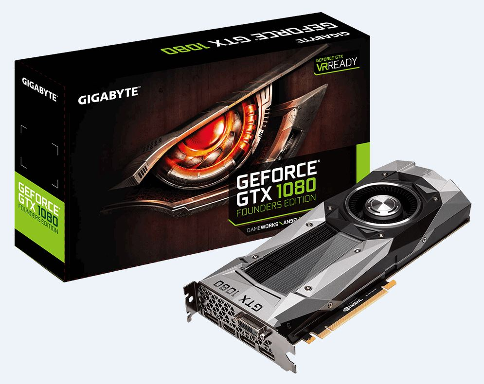 Gigabyte nVidia GeForce GTX 1080 Founders Edition 8GB PCIe Video Card DDR5X 7680x4320 @ 60Hz DP HDMI DVI 1733/1607 MHz