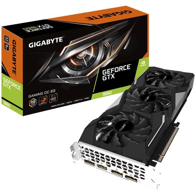 Gigabyte nVidia GeForce GTX 1660 Gaming OC 6GB Graphic Card 7680x4320@60Hz 3xDP HDMI 4xDisplays Windforce 3X Cooling RGB 1860MHz