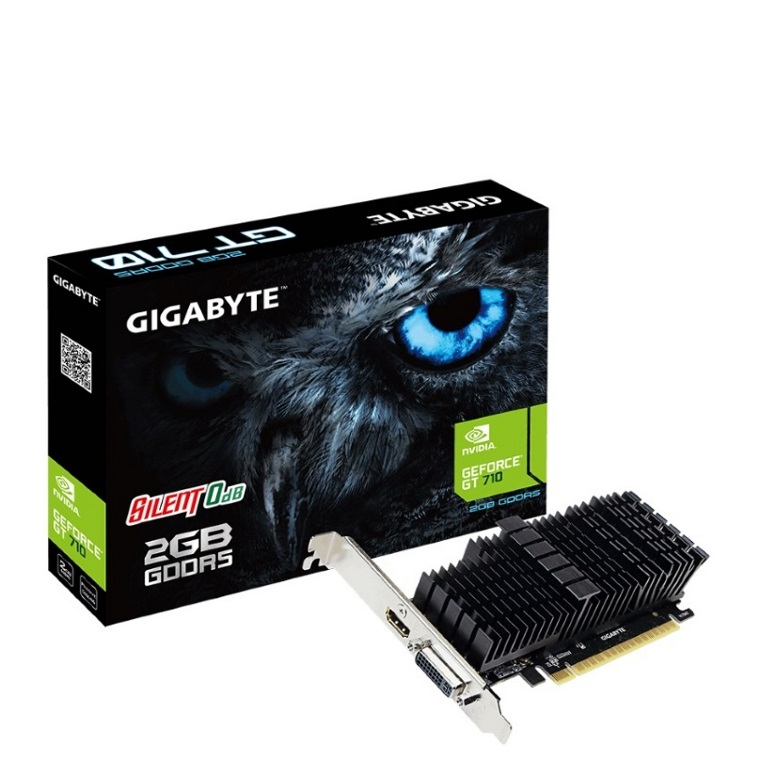 Gigabyte nVidia Geforce GT 710 2GB DDR5 PCIe Graphic Card 4K 2xDisplays HDMI DVI Low Profile Heatsink 954MHz