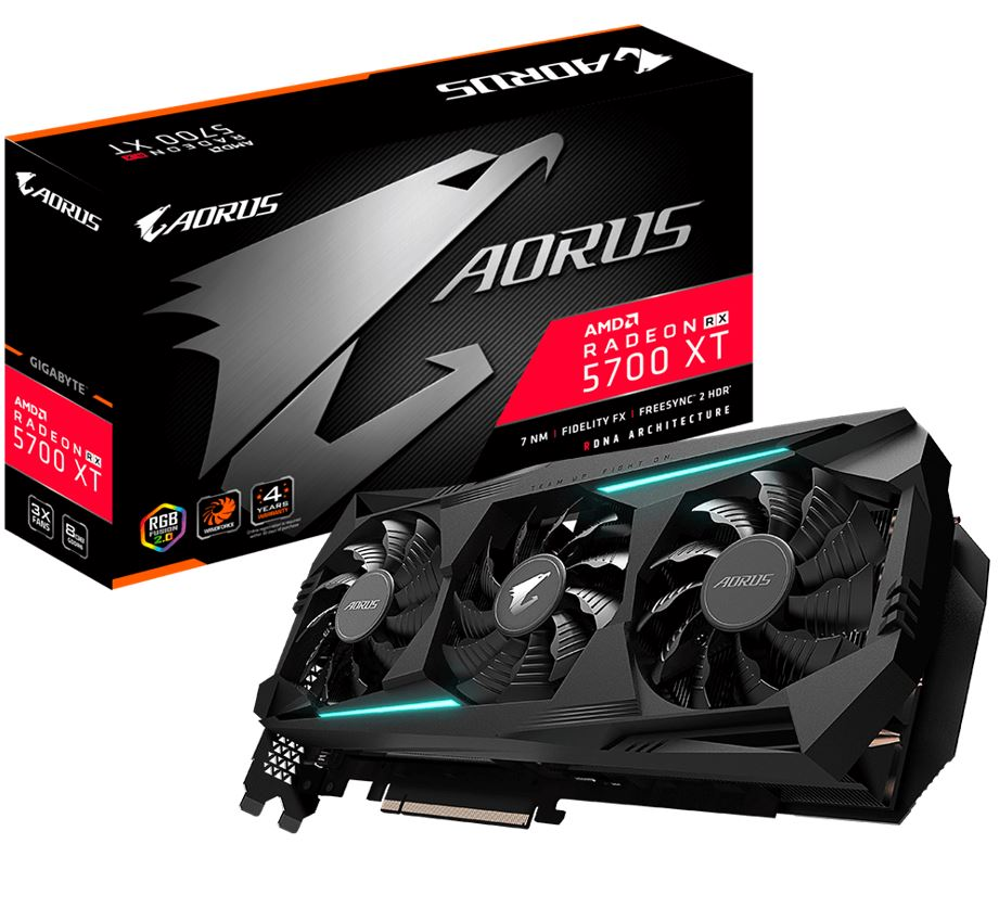 Gigabyte AMD Radeon Navi Aorus RX 5700 XT 8GB GDDR6 PCIe Graphic Card 8K 7680x4320@60Hz 6xDisplays 3xDP 3xHDMI 2010/1770MHz FreeSync RGB2.0