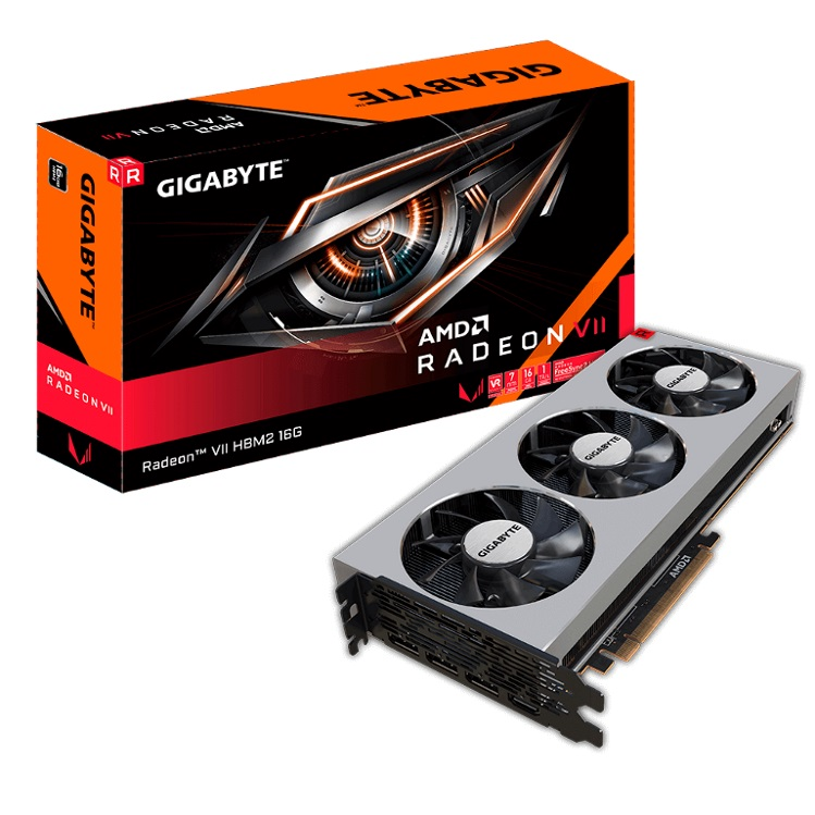 Gigabyte AMD Radeon VII HBM2 16GB PCIe Video Card 8K 7680x4320@60Hz 4xDisplays 3xDP 1xHDMI 1750/1400 MHz 7nm FreeSync VR Ready