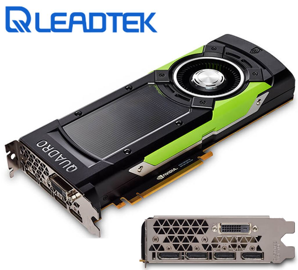 Leadtek nVidia Quadro GP100 PCIe Workstation Card 16GB HBM2 ECC 4xDP1.4 DVI 4x5120x2880@60Hz 4096-Bit 717GB/s 3584 Cuda Core Dual Slot Full Height