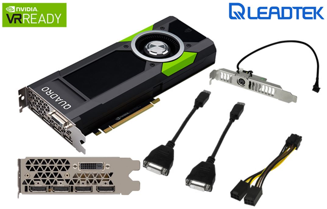 Leadtek nVidia Quadro P5000 PCIe Workstation Card 16GB DDR5 4xDP1.4 DVI 4x5120x2880@60Hz 256-Bit 288GB/s 2560 Cuda Core Dual Slot Full Height ~M5000