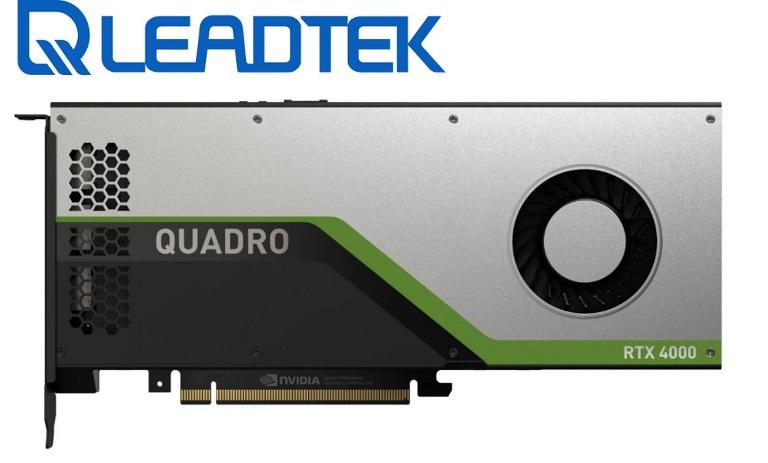 Leadtek nVidia Quadro RTX4000 PCIe Workstation Card 8GB GDDR6 3xDP1.4 5K 4x4096x2160@120Hz 1xVirtualLink 256-Bit 416GB/s 2304 Cuda 288 Tensor 36 RT