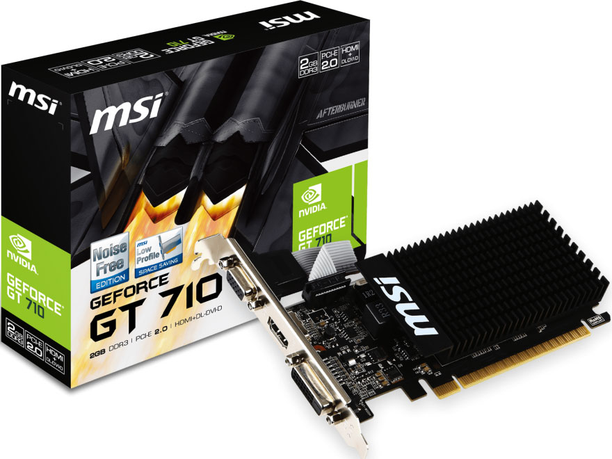 MSI nVidia Geforce GT 710 2GB LP Low Profile VGA CARD GDDR3 2560x1600 1xHDMI 1xDVI PCIE2.0x16 954 MHz Core