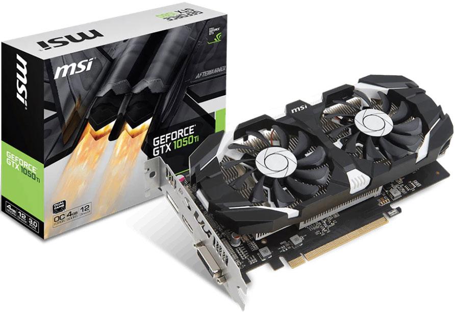 MSI nVidia Geforce GTX 1050 TI 4GT OC V1 4GB VGA Card GDDR5 1xDP 1xHDMI 1xDVI 1455 MHz/1341 MHz PCIE3.0x16