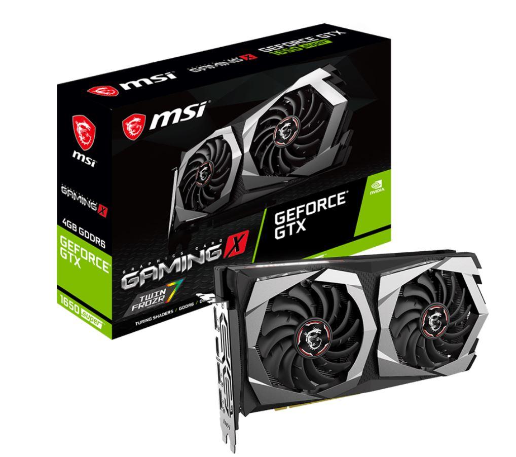 MSI nVidia Geforce GTX 1650 SUPER GAMING X 4GB GDDR6 7680 x4320 3xDP1.4 1xHDMI2.0b 1755 MHz TORX Fan 3.0 G-SYNC VR