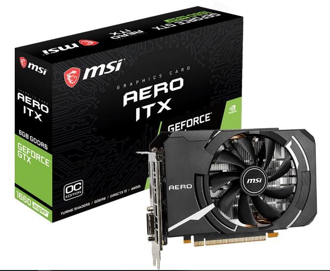 MSI nVidia Geforce GTX 1660 SUPER AERO ITX OC 6GB GDDR6 7680 x4320 1xDL-DVI-D 1xDP1.4 1xHDMI2.0b 1815 MHz Afterburner SYNC VR