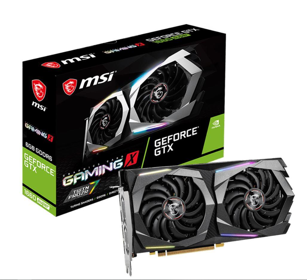 MSI nVidia Geforce GTX 1660 SUPER GAMING X 6GB GDDR6 7680 x4320 3xDP1.4 1xHDMI2.0b 1830 MHz TORX Fan 3.0 G-SYNC VR