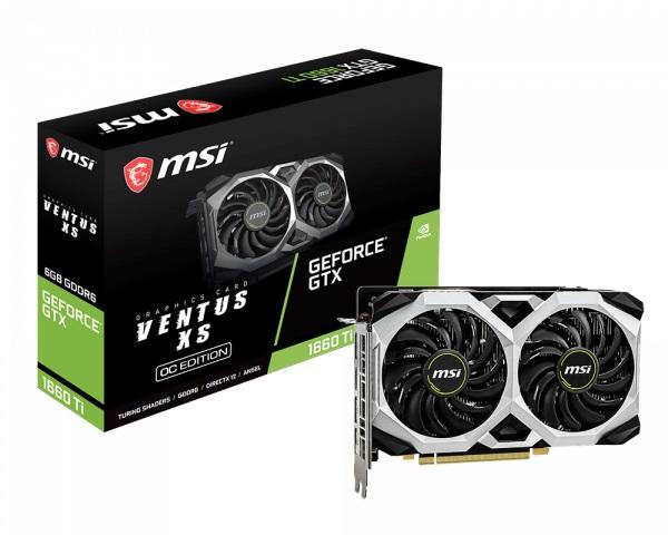 MSI nVidia Geforce GTX 1660 Ti VENTUS XS 6G OC GDDR6 7680 x4320 3xDP1.4 1xHDMI2.0b 1830 MHz TORX Fan 2.0 G-SYNC™ HDR VR