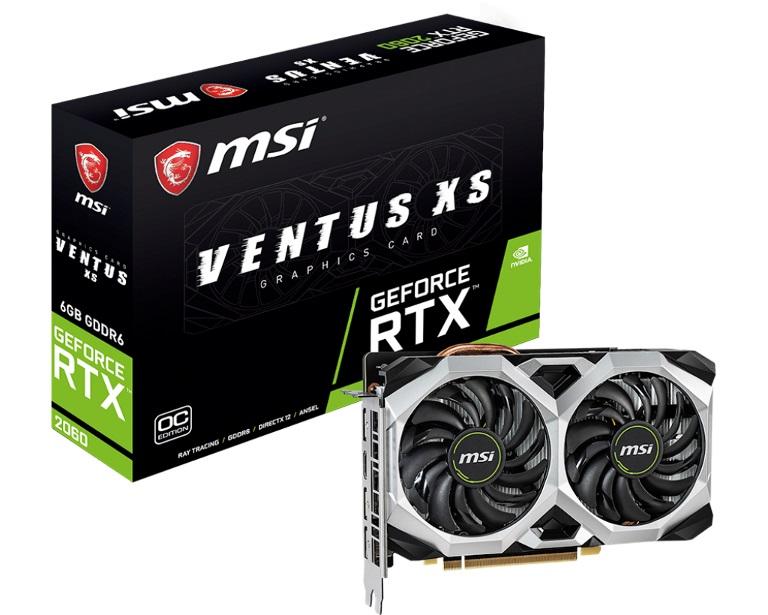 MSI nVidia Geforce RTX 2060 Ventus XS 6GB OCV1 GDDR6 7680x4320@60Hz 3xDP1.4 1xHDMI2.0 1710MHz TORX Fan 2.0 G-SYN HDR VR