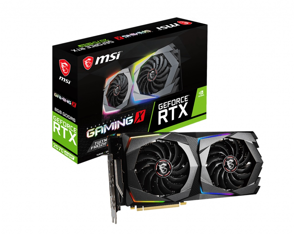 MSI nVidia Geforce RTX 2070 Super Gaming X 8GB GDDR6 8K 7680x4320 4xDisplays HDMI NVLink VR G-Sync 1800MHz TORX Fan 3.0 RGB (LS)