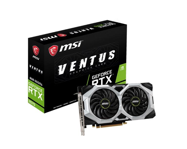 MSI nVidia Geforce RTX 2070 Ventus 8GB OC GDDR6 7680x4320@60Hz  3xDP1.4 1xHDMI2.0 1620 MHz TORX Fan 2.0 G-SYN HDR VR (LS)