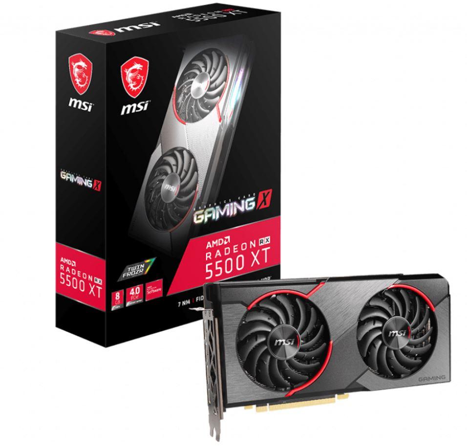 MSI AMD Radeon RX 5500 XT Gaming X 8GB GDDR6 PCIe 4.0 Graphics Card 7680x4320 4xDisplays 3xDP HDMI 1737/1685 MHz TORX FAN3.0