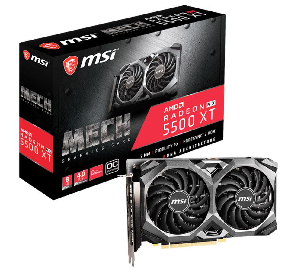 MSI AMD Radeon RX 5500 XT MECH 8G OC 8GB GDDR6 PCIe 4.0 Graphics Card 7680x4320 4xDisplays 3xDP HDMI 1845/1647 MHz TORX FAN3.0
