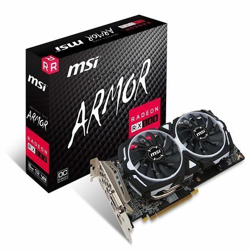 MSI AMD RX 580 ARMOR 8GB OC Video Card - GDDR5 2xDP/2xHDMI/DVI CF VR Ready 1366MHz