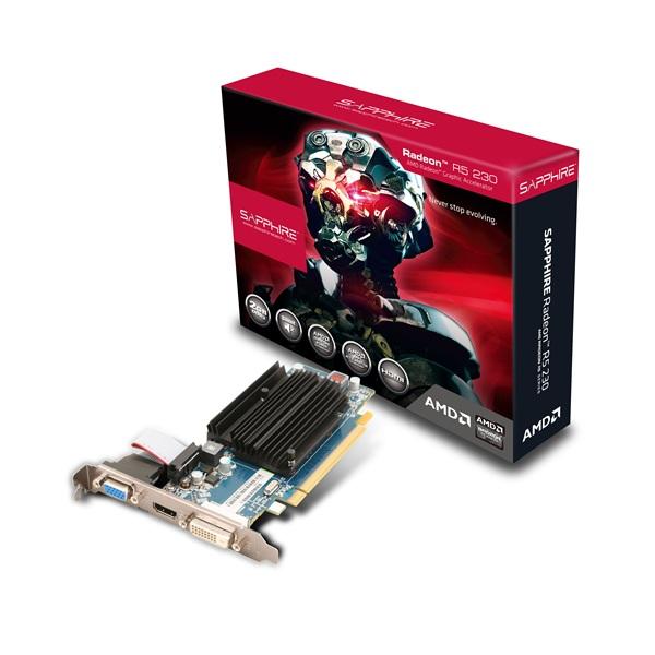 SAPPHIRE AMD R5 230 2GB GDDR3 PCI-E VGA CARD, HDMI / DVI-D / VGA (UEFI), LP Bracket Included