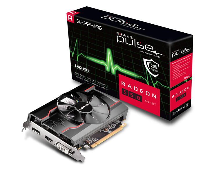 SAPPHIRE AMD RADEON PULSE RX 550 2GB Gaming GDDR5 HDMI / DVI-D / DP OC (64-BIT, UEFI) LITE AMD Eyefinity 1071MHz 640 Stream Processors