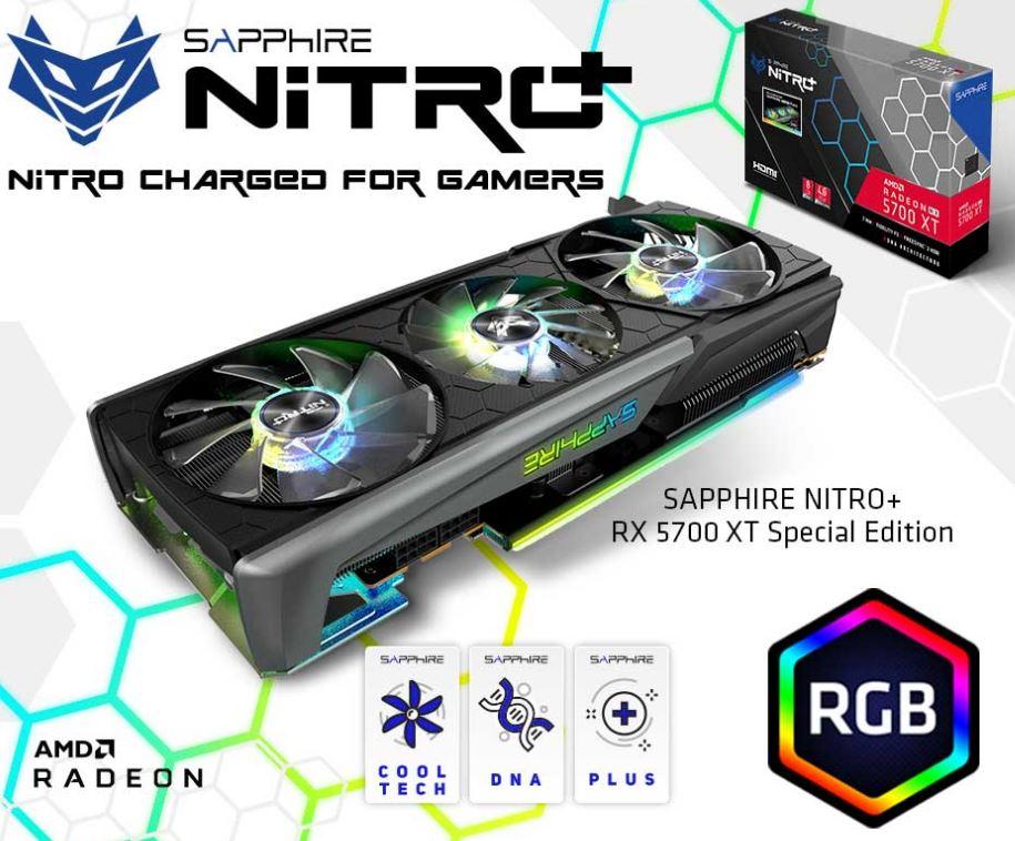 SAPPHIRE AMD RADEON NITRO+ RX 5700 XT 8GB GDDR6 DUAL HDMI / DUAL DP OC (UEFI) SPECIAL EDITION, 285W, 2.5 Slots, 3 ARGB Fans (LS)
