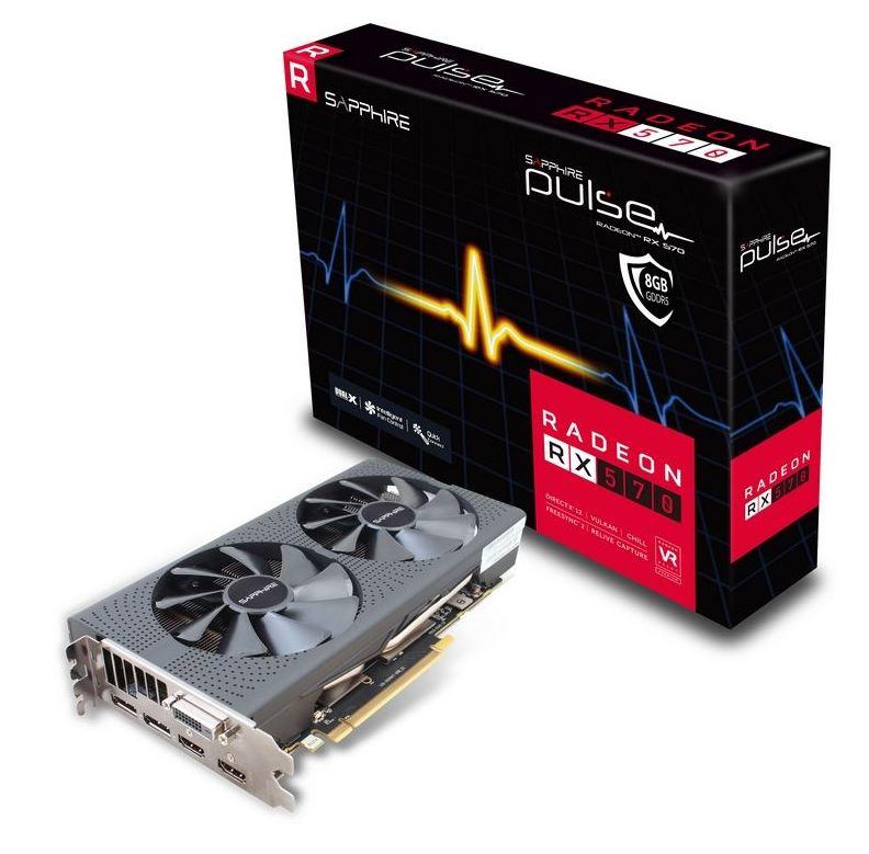 SAPPHIRE PULSE AMD RADEON RX 570 8G GDDR5 DUAL HDMI / DVI-D / DUAL DP OC W/BP (UEFI)